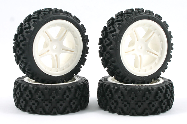Fastrax 1 / 10e Touring Wheel / Rally Block 5 branches blanc (4)